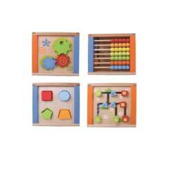 צעצוע התפתחות מעץ, קוביית פעילות מאתגרת הכוללת מבוך, חשבונייה ללימוד חשבון, פעלולון ומשחק השחלת חרוזים, לפיתוח תיאום עין ויד