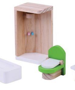 ריהוט מעץ מלא לבית בובות חדר מקלחת לבית בובות הכולל אמבטיה, מקלחת, שידה עם מראה ואסלה.