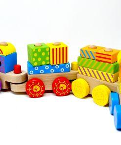 צעצוע עץ, רכבת ענק צבעונית הכוללת 22 חלקים בצורות הנדסיות שונות