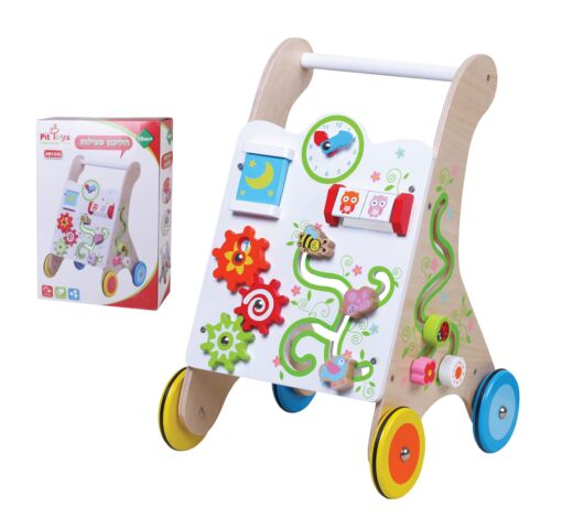 הליכון פעילות מעץ לתינוק, הליכון מאתגר לפעוטות עם ידית אחיזה וגלגלים מונעי החלקה