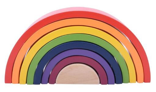 צעצוע עץ לפיתוח היצירתיות, קשת בענן המכיל 8 חלקי עץ בצבעים וגדלים שונים המסייעים לפיתוח תיאום עין ויד