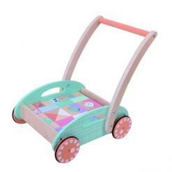 עגלת משיכה מעץ מלא לתינוקות כולל 34 חלקים של צורות הנדסיות שונות מעץ להרכבה והתפתחות הילד, ידית נשיאה וגלגלים