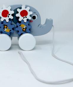 צעצוע משיכה מעץ מלא לתינוקות, פיל נגרר, הכולל פעלולון להתפתחות הילד, חוט נשיאה וגלגלים