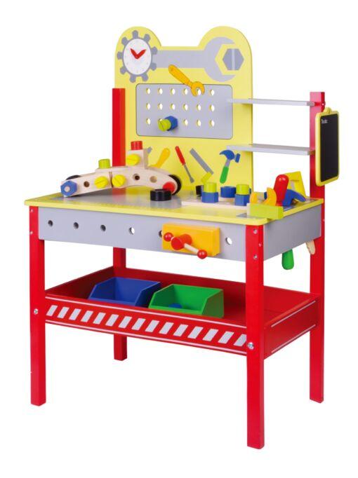 שולחן כלי עבודה מעץ לילדים, כולל סט כלי עבודה וחלקים להרכבה, מדף אחסון ושעון