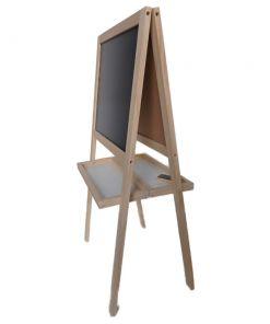 לוח טושים מחיקים, לוח מגנטים ולוח גירים מעץ מלא, 3 באחד, דו-צדדי.