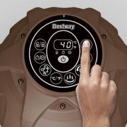 מתנפחים, מערכת ספא מתנפחת מדגם Bestway 54175 ST.MORITZ הכוללת זוג מסננים, מצוף לכימיקלים וכיסוי מתנפח.