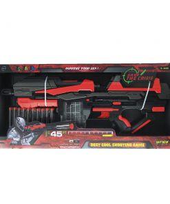 צעצוע רובה לילדים דגם FJ552 הכולל 10 חצים, ידית אחיזה ומחסנית שקופה לירי רך