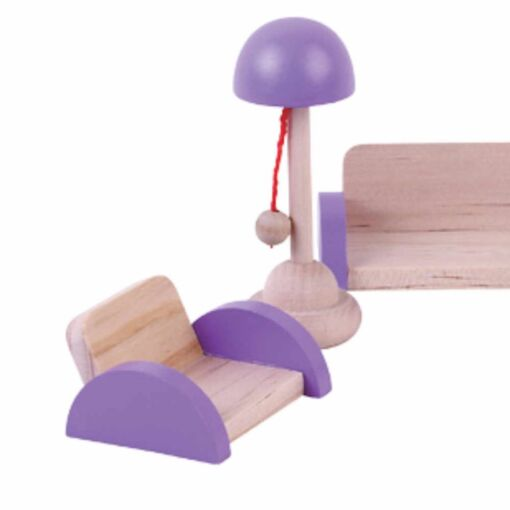 ריהוט מעץ מלא לבית בובות סלון לבית בובות הכולל ספה, כורסת טלויזיה, מנורת לילה, מזנון וטלויזיה