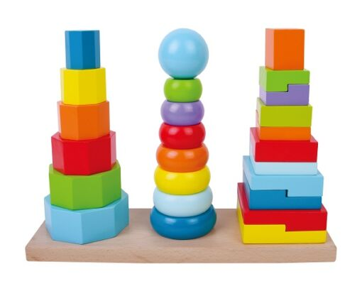 צעצוע עץ, מגדל פעילות הכולל 3 עמודי השחלה לטבעות, צורות ומשושים צבעוניים בגדלים שונים