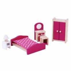 ריהוט מעץ מלא לבית בובות, חדר שינה לבית בובות הכולל מיטה, ארון בגדים, שידה ומנורת לילה, שידת איפור וכיסא.