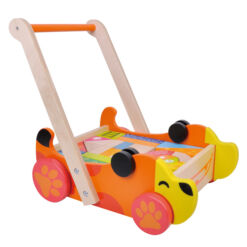 עגלת עידוד הליכה מעץ מלא לתינוקות בצורת כלב הכוללת חלקים של צורות הנדסיות שונות מעץ להרכבה והתפתחות הילד, ידית נשיאה וגלגלים