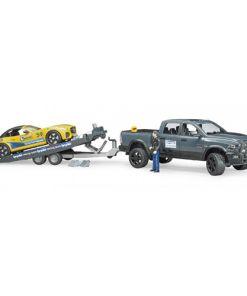 BRUDER ברודר - טנדר RAM 2500 כולל נגרר מרוצים עם מכונית וצוות