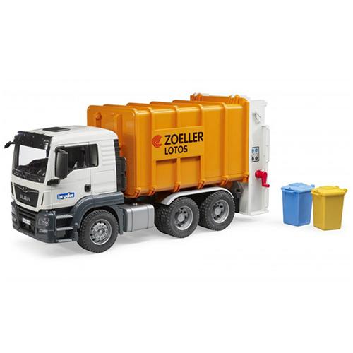 BRUDER - ברודר MAN TGS משאית אשפה מנוף פחים אחורי