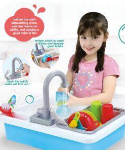 כיור עם ברז מתיז מים לילדים