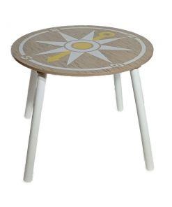 סט שולחן ו 2 כיסאות מעץ דגם פירטים בצבעי עץ, שחור ולבן