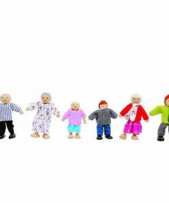 בובות עץ לבית בובות משפחה הכולל אמא, אבא, סבתא, סבא, בן ובת