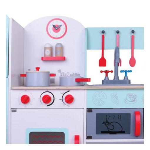 מטבח מעץ מהמם לילדים, דגם קלאסי בצבעי לבן, אדום וטורקיז, כולל כלי מטבח.