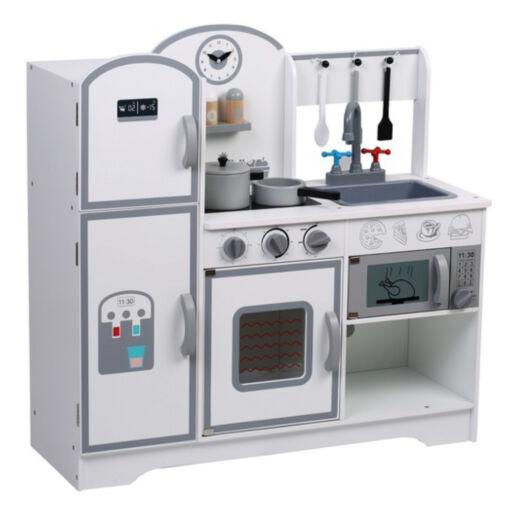 מטבח מעץ מהמם לילדים, דגם קלאסי בצבעי לבן, אפור ושחור, כולל כלי מטבח.