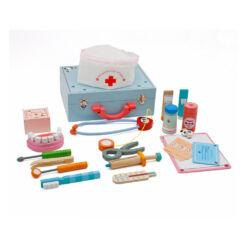 צעצוע ערכת רופא שיניים מעץ מלא לילדים, האביזרים מעץ מלא עם חיבורי מגנטים