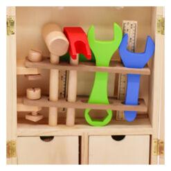 צעצוע לילדים ארגז כלי נגרות מעץ מלא כולל מגוון רחב של כלי עבודה
