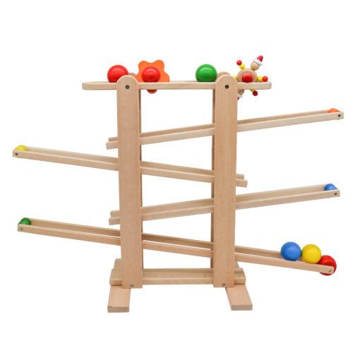 מגלשת כדורים וצורות מעץ לילדים, משחק התפתחותי לפעוטות