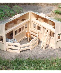 משחק חוות סוסים וחווה לחיות משק מעץ לילדים