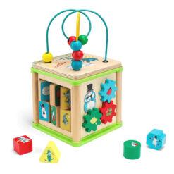 קוביית פעילות לפעוטות מעץ , משחק התפתחות לפיתוח מיומנויות ומוטוריקה עדינה לגיל הרך שילוב של תנועה וצבעים.