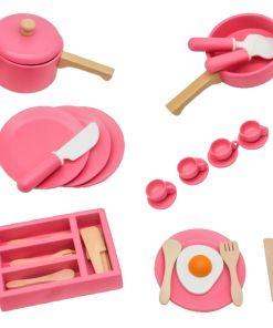 משחק כלי מטבח ומסיבת תה מעץ מלא לילדים , ערכה המכילה 32 חלקים