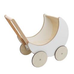 עגלת בובה רטרו והליכון מעץ עם גלגלים מונעי החלקה לשיפור מיומנות הליכה של פעוטות בצבעי לבן ועץ