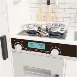 מטבח עץ צעצוע מדהים בצבע לבן לילדים כולל אביזרי מטבח , תאורה בארונות וצלילים בתנור ובקולט אדים