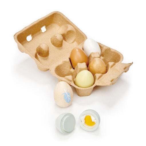 טנדר ליפ Tender Leaf - קרטון ביצים + שש ביצים מעץ מלא