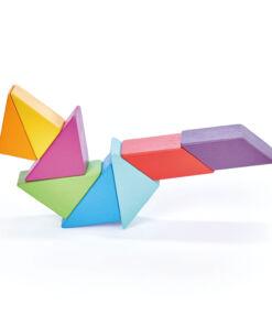 טנדר ליפ Tender Leaf - סט 8 קוביות מגנטיות צבעוניות מעץ + שק אכסון רב פעמי מבד