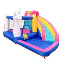 פארק מים לילדים, מתנפחים - מתקן שעשועים מתנפח לילדים, בעיצוב של חד קרן עם מגלשה, חדר קפיצה וקיר טיפוס