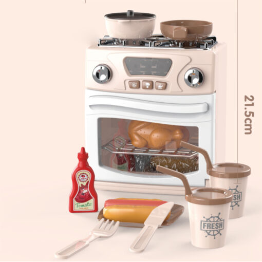מערכת בישול אלקטרונית בגוון כתום בהיר הכולל תנור עם כלים וכיריים, מחבת סיר ומכסה
