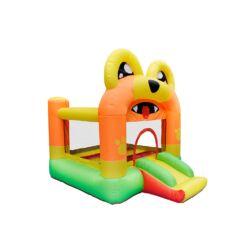 מתנפחים - מתקן שעשועים מתנפח לילדים, בעיצוב של כלב עם מגלשה, חדר קפיצה ורשת בטיחות