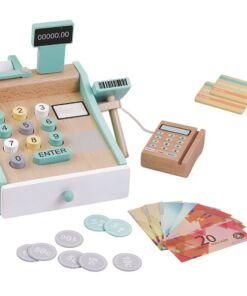צעצוע עץ לילדים, קופה רושמת לילדים מעץ עם לחצנים ממוספרים כולל מטבעות שטרות וכרטיסי אשראי, מחשבון סליקה וסורק מוצרים.