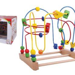 צעצוע התפתחות מעץ, מבוך חרוזים מאתגר הכולל צורות צבעוניות בגדלים שונים למשחק השחלת חרוזים, לפיתוח תיאום עין ויד